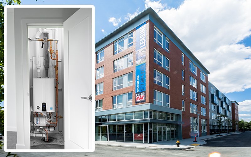 Hub 25 apartment building in boston uses one navien npe tankless water heater in each unit