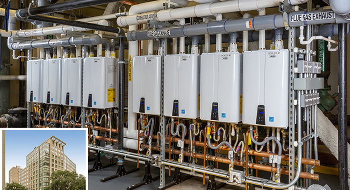 16 navien npe tankless water heaters serve 170 apartments at west end asteria apartments in boston